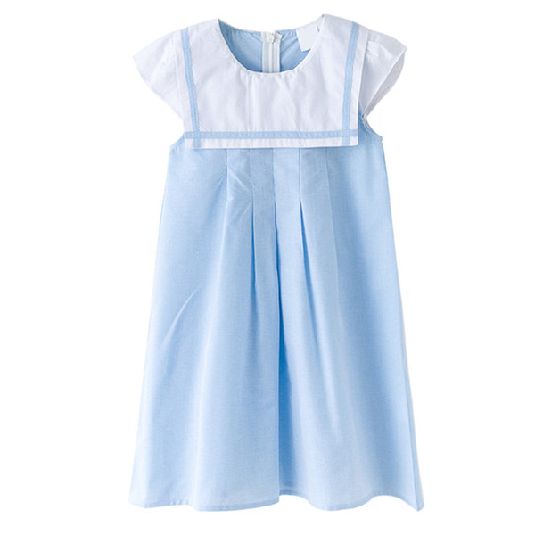 3 до 12 лет дети большие девочки летние моряк воротник хлопка повседневная вспышка платье дети девушка мода школьная форма платья