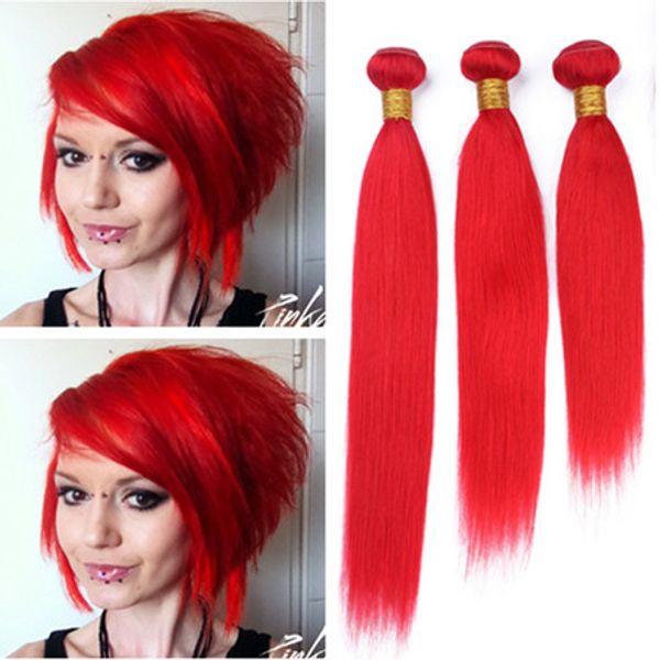 Virgin Indian Human Hair Bright Red Weave Bundles 3Pcs 300Gram Gorgous Red Color Virgin Human Hair Bundle Deals Double Weft Extensions