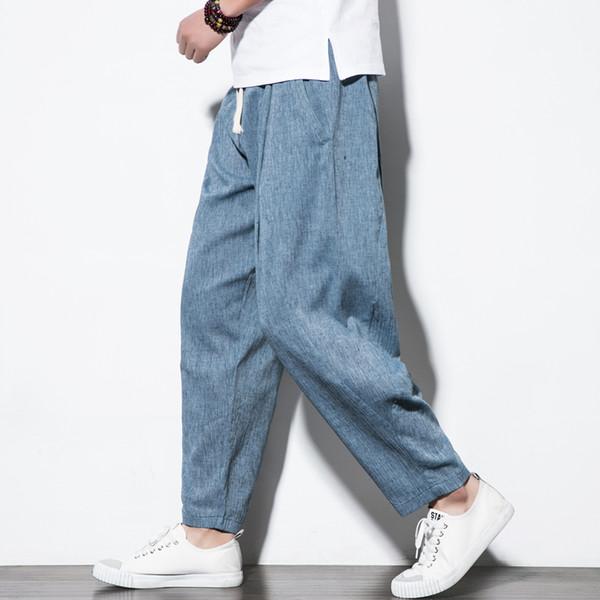 Streetwear Algodão De Linho Harem Pants Mens Basculador Calças Soltas Tornozelo-Comprimento Sólido 2019 Casual Sweatpants Mens Calças