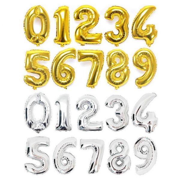 Pallone a palloncino in alluminio oro argento con palloncino digitale grande 40 pollici Decorazione per feste di compleanno Forniture per matrimoni DHL Free