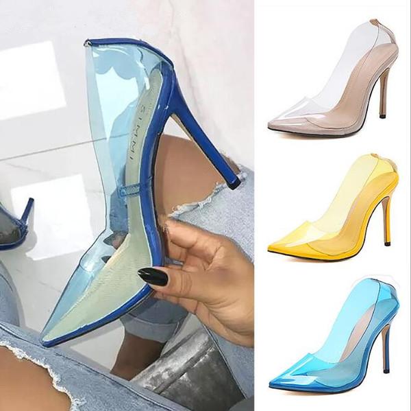Sexy moda feminina festa de casamento das mulheres sapatos stilettos saltos altos apontou toe transparents bombas sapatos amarelo azul