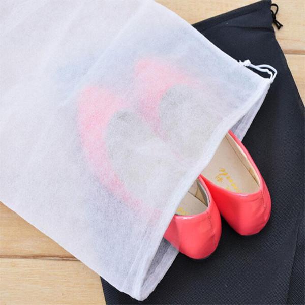 Promotion Non-woven Shoe Drawstring Travel Storage Shoe Dust-proof Tote Dust Bag Case Black White Pouch Tote Bag Dust-proof KKA4662