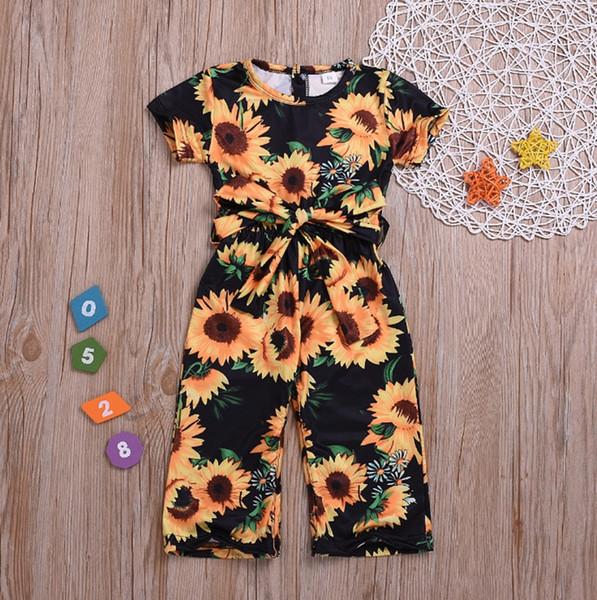 Baby Mädchen Kleidung Sonnenblume Gedruckt Mädchen Strampler Floral Prinzessin Overalls Kurzarm Schärpe Baby Klettern Kleidung Kinder Kleidung DHW3223