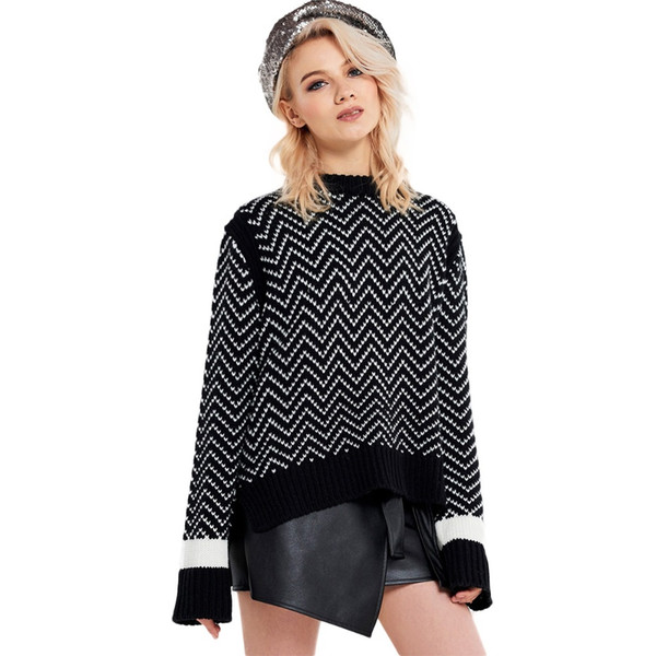 HDY Haoduoyi Women Simple College Wave Pattern Trimming Contrast Knit Stitch Loose Front Short Long Sweater Wholesale