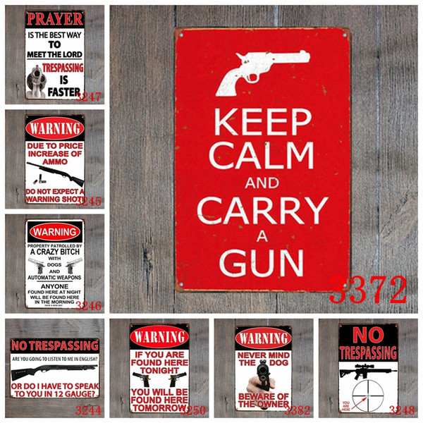 DL-keep Calm and Carry A Gun Vintage Metal Sign Home Decor Tin Art Decor Drip Tray House Rules Wall Art