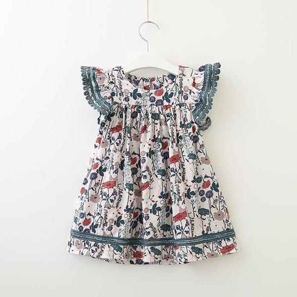 Vêtements enfant fille Robe imprimée à col rond et à volants Robe fille Automne Printemps Vêtements
