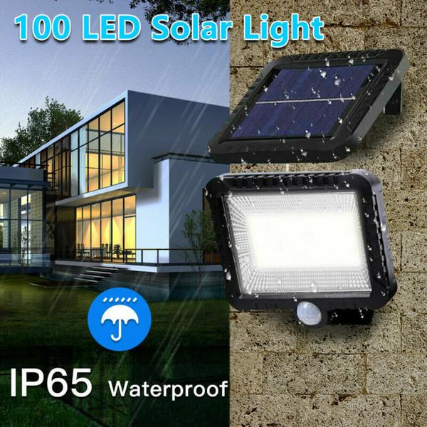 Hot New 100 LED lumière solaire extérieur Lampe solaire de lumière du soleil étanche Mouvement PIR Éclairage public pour la décoration de jardin