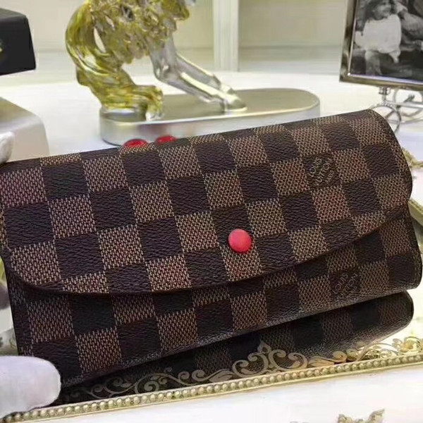 Luxury Designer 6543 Plaid Wallet For Women Button Long Emilie Wallet Exotic Leather Top Quality Ladies Card Pouch Round Coin Purse