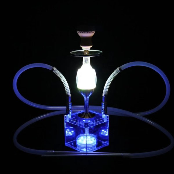 Neueste Acryl Dekorative Form Tischlampe Shisha Shisha Pfeife Kit Fernbedienung Bunte Licht Innovative Design Luxusgenuss