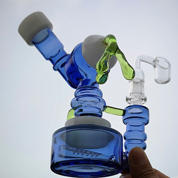Small Glass Bong Dab Oil Rigs Bongs Inline Perc Robot Fumed Hanger Perc Dab Rig with Glass Banger Water Pipe XL-1942