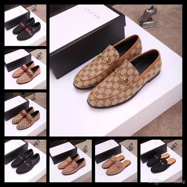 19ss luxe nouveaux hommes chaussures habillées de designer cuir véritable bouton-pression en métal pois de mariage chaussures mode classique chaussures pour hommes grande taille mocassins