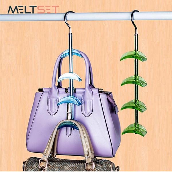 Hanging Handbag Closet Organizer Purse Storage Hanger with 4 Hooks Hat Bag Strap Belt Clothes Rack Wardrobe Organizer