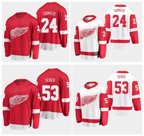 2019 personalizado Detroit Red Wings Jerseys 24 Antti Tuomisto 53 Moritz Seider 100% costura Hockey Jerseys