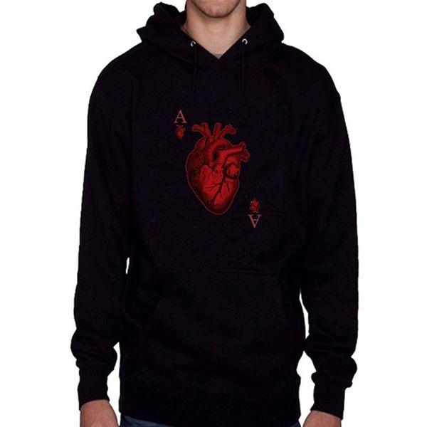 Poker Heart New Brand Men's Hoodies Cotton Sweatshirt Black/Gray 4XL Hoodie Brand Clothing Sudaderas Hombre Hip Hop Tracksuit