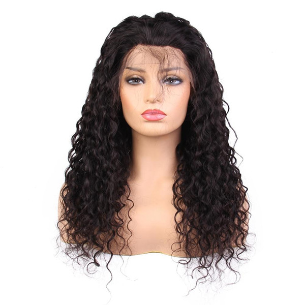 Beautiful no tangle unprocessed virgin remy human hair long natural color deep wave full front lace cap wig for white women