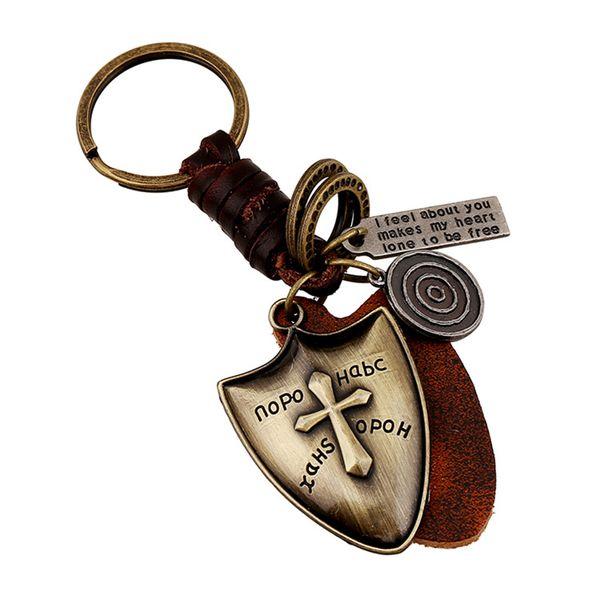 Clé mignon boucle anneaux Porte-clés anneau de porte-clés pour l'artisanat La couche supérieure en alliage de peau de vache