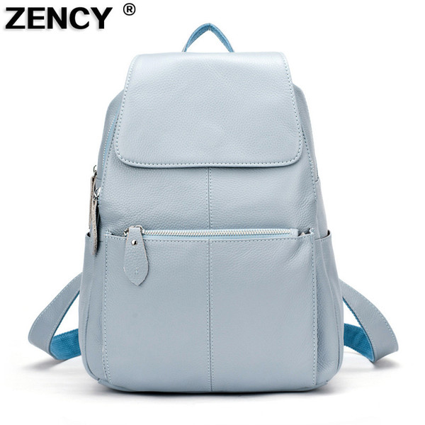 Zency 13 Colors Backpack 100% Real Genuine Leather Top Quality Cowhide Women Female First Layer Cow Leather School Backpacks Y19061004