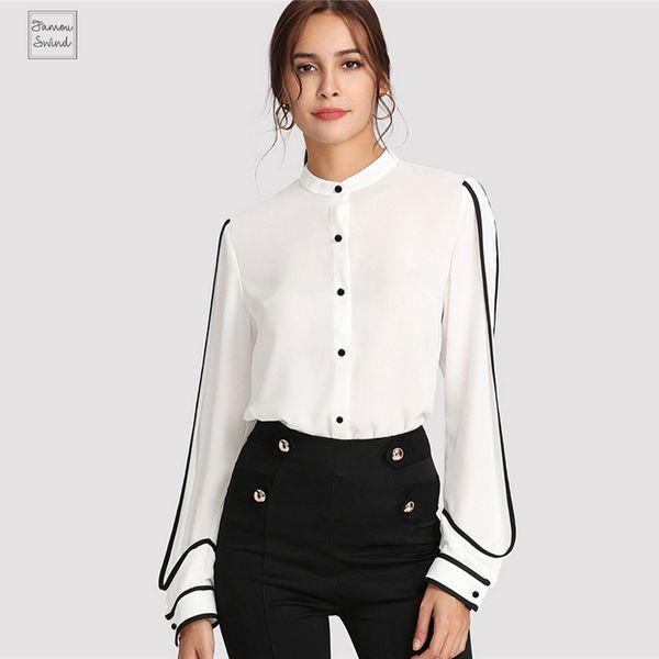 Blusa branca elegante Fique Collar manga comprida botão preto listrado outono Mulheres Vestuário shirt envio Top Drop