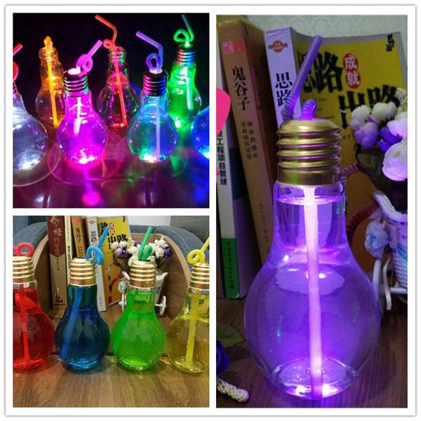 Light Bulb Cup Beverage Bottle 400ml With Lid Tea Fruit Juice Drink Bottle Special Use For Milk Tea Shop HOT