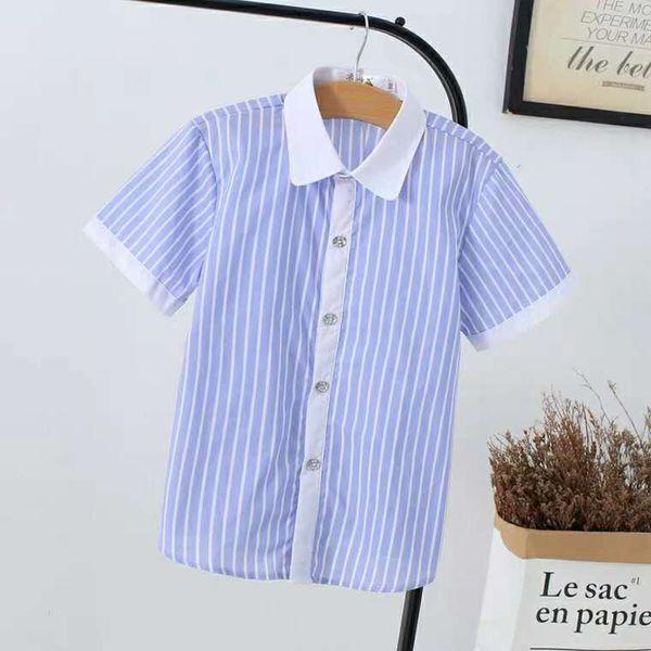Summer Children's Short Sleeve Shirt Boys and Girls Cotton Shirt Baby Half Sleeve White Inch Shirt Children's School Uniform