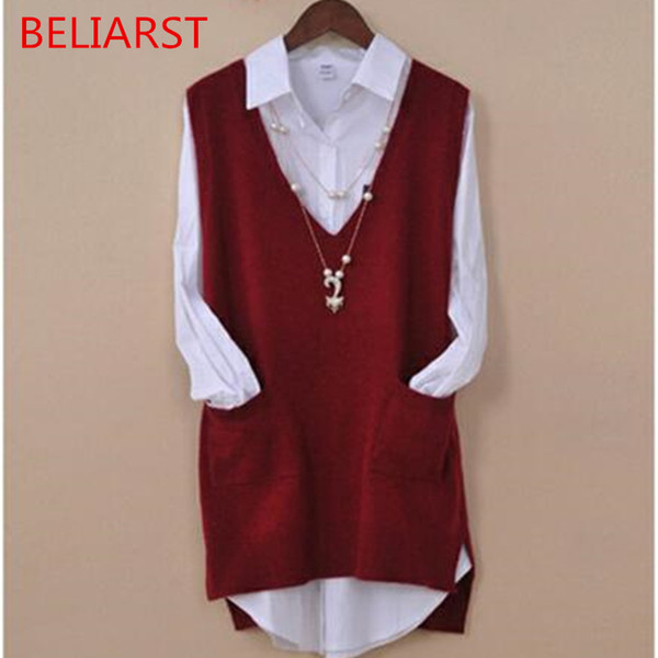 BELIARST 2018 Spring and Summer Hot New Woman pullover Fashion V-Neck Large Size Vest Loose Warm Cashmere Waistcoat