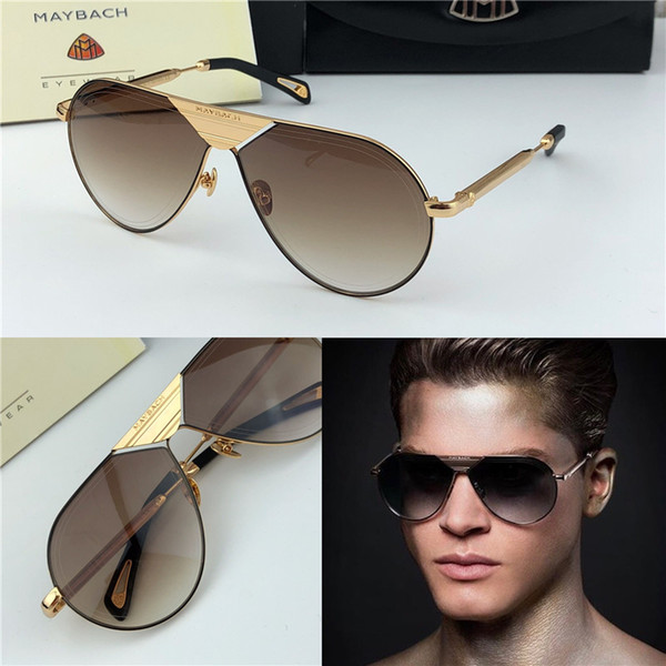 Luxury men gla e the lineart brand maybach de igner ungla e quare k gold frame high end outdoor uv400 eyewear with box