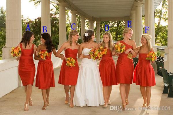 Venta caliente Seis Estilos Clásico Longitud de la rodilla Vestidos de dama de honor más jóvenes con el marco Vestido de fiesta sin tirantes del tafetán Vestido formal para la boda