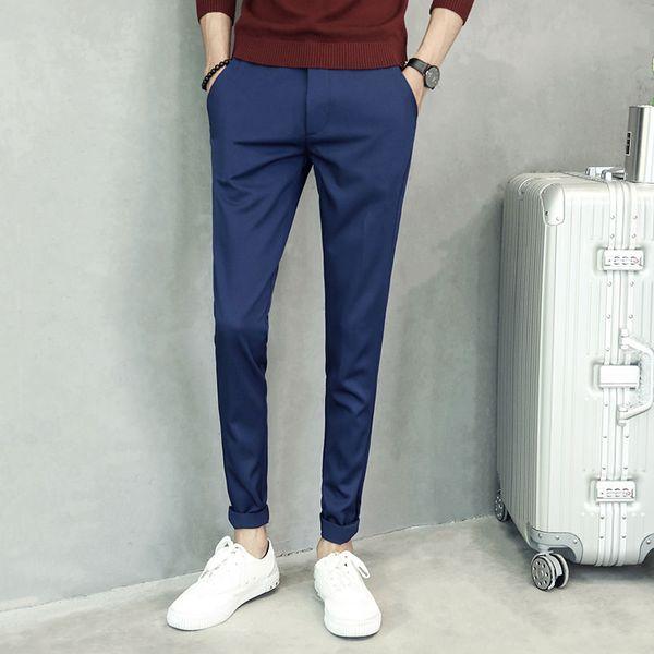 talla 40 6baa4 e349f Compre Pantalones De Hombre Sólido Pantalones Casuales Negros De Negocios  Azul Marino Hombres Slim Fit Stretch Pantalones De Traje De Los Hombres De  ...