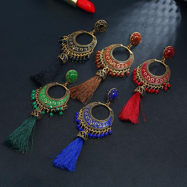 Free DHL 2019 Vintage Bohemian Water Drop Tassel Pendant Earrings for Women Jewelry 5 Colors Fashion Ethnic Stud Earrings Party Gift M011F