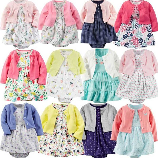Baby Girl Bodysuit Cute Soft Cotton Long-sleeved Cardigan +short Sleeve Dress 2 Pieces Infant Toddler Girls Clothes Set Q190518