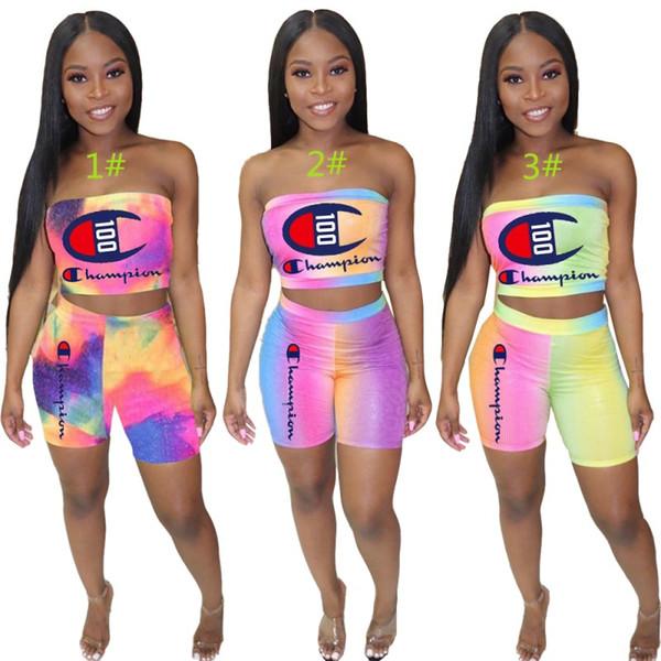 top popular Champion Womens outfits tube top+pants 2 piece set tracksuit jogging sportsuit strap top+short leggings outfits sweatshit pants klw1191 2019