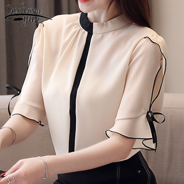 new 2019 womens tops and blouses women short sleeve chiffon shirts blusas femininas elegante blouse women women shirts 50