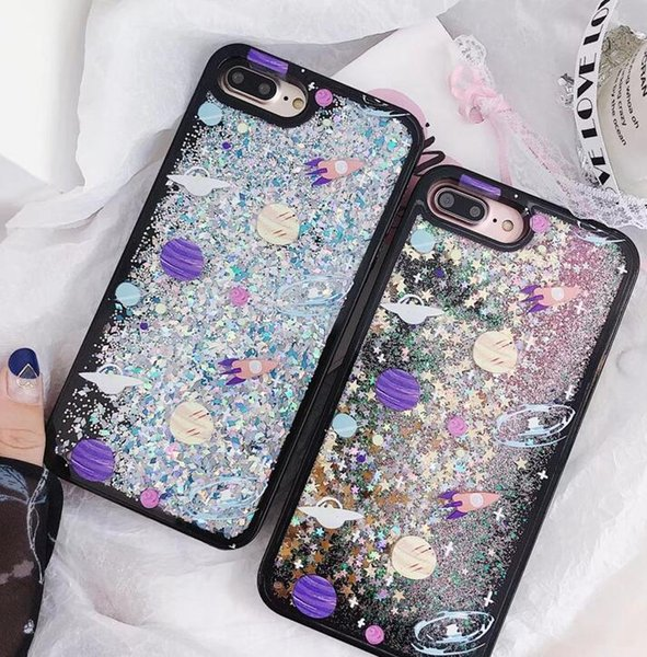 New Mobile Phone Shell Transparent Cosmos Star Rocket Star Spot Soft Edge Quick Sand Mobile Phone Cover for iphone X XS XR