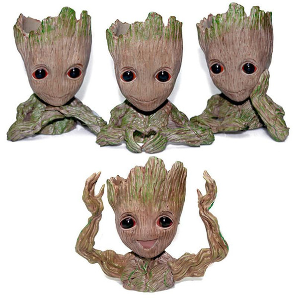 Guardians of The Galaxy Flowerpot Tree Man Baby Groot Action Figure Pen Container Doll Cute Model Toys The Avenger Pen Flower Pot Xmas Decor