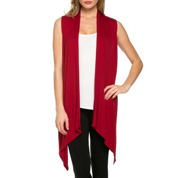 Women Summer Sleeveless Jacket Soft Outerwear Cardigan Long Top Coat Waistcoat