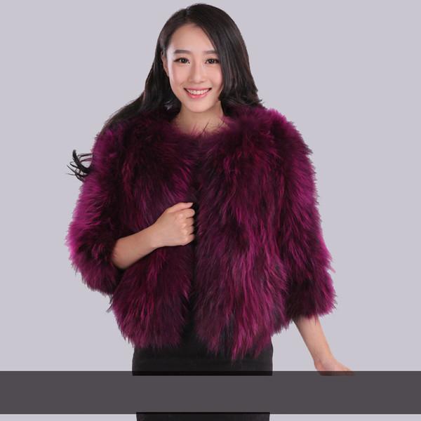 2018 New arrival fashion natural raccoon dog fur coats women O neck slim fur coat outerwear plus size free shipping