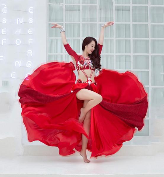 2019 Yeni Oryantal Dans Yarışması Gösterisi Kostüm Kadınlar Lüks Elmas Sutyen + Bölünmüş Elbise Suit Oryantal Dans Gösterisi Elbise