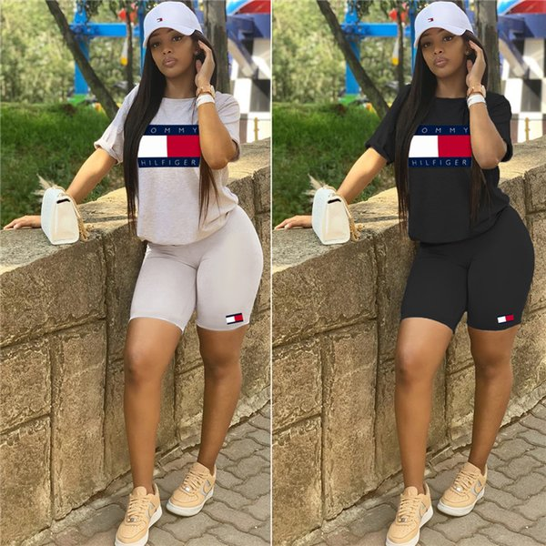 top popular women 2 piece set tracksuit shirt pants outfits short sleeve shirt pants sweatsuit pullover tights sportswear sports suit klw1103 2019
