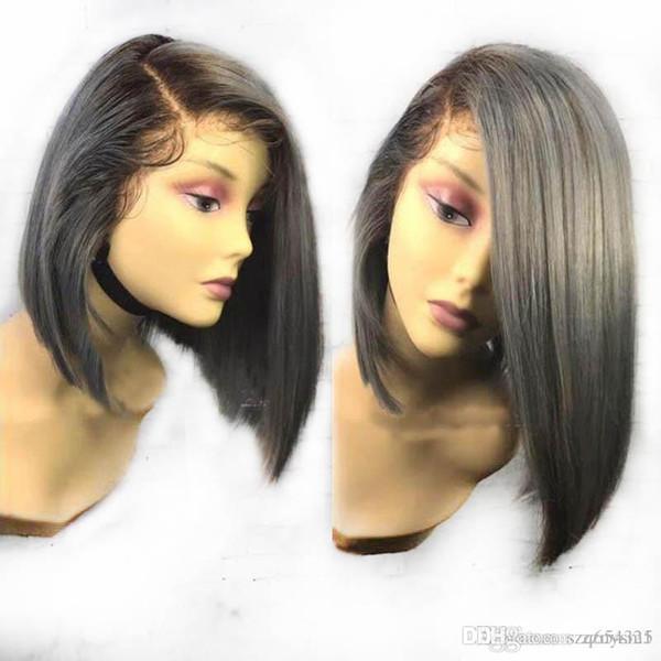Großhandel Ombre Grau Farbe Kurze Bob Perücke Menschliches Haar 1b Silber Seidige Gerade Indische Spitzefront Menschliches Haar Perücken Mit Dem