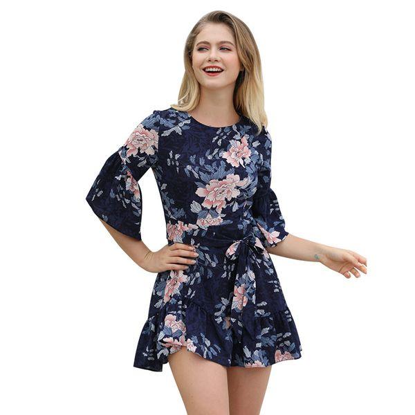 2019 Suit-dress Heat Sell Lotus Leaf Edge Skirt Short In Sleeve Printing mini club Dress Woman dresses casual for women plus models Genuine