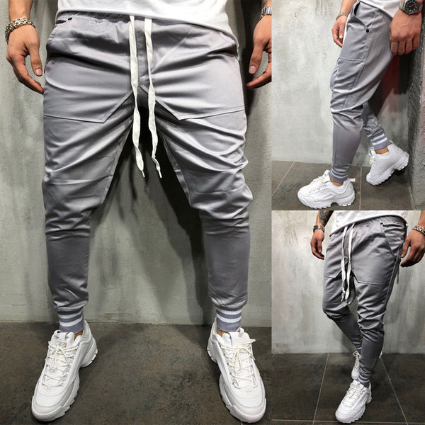 Sport Athletic Style Mens Skinny Jogging Bottoms Pantaloni sportivi Pantaloni da ginnastica Pantaloni da jogging lunghi e sottili Pantaloni da tuta
