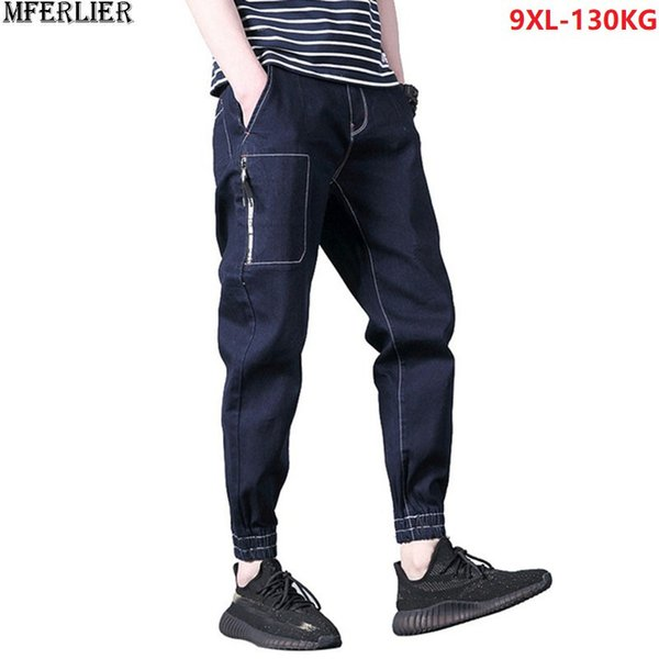 men jeans plus size big large ankle-length jeans hipster camouflage 8XL 9XL 46 pencil pocket korea style pants elasticity loose