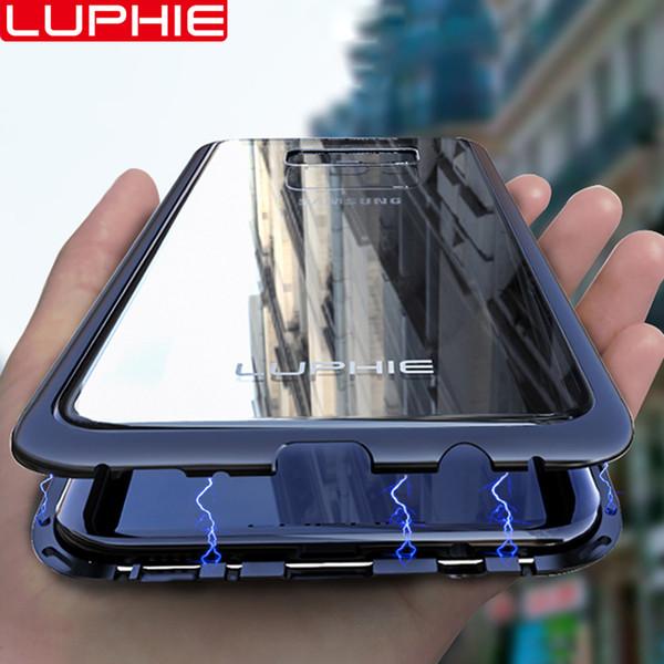 venta al por mayor para Samsung Galaxy S9 S8 Plus S7 Edge Note 8 Note 9 Funda Original a estrenar Aluminio magnético Marco de metal Vidrio templado