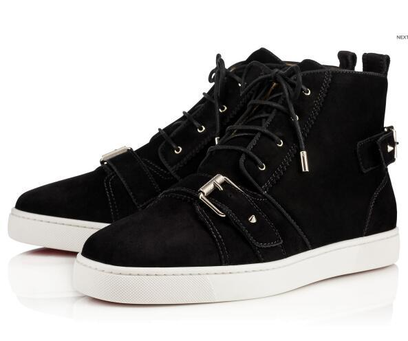 Luxury High Quality Brand Red Bottom Men Casual Sneakers Brown White Black suede Nono strap Beau velours Noir Black Sneakers EUR35-47