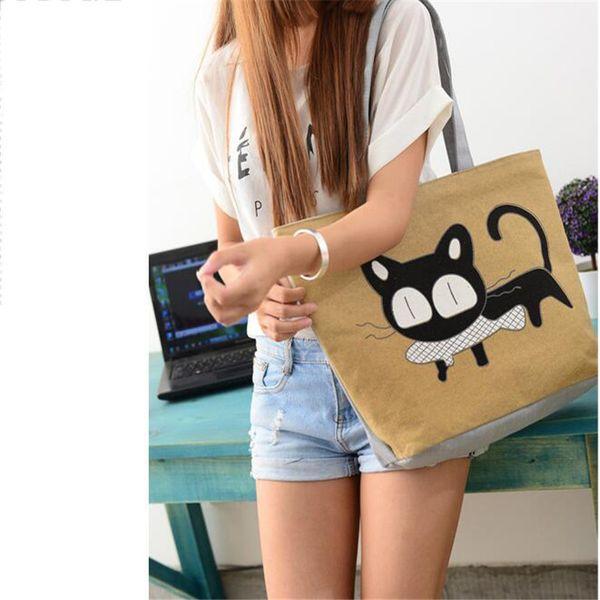 New Cat Print Apparel Shoulder Bag Korean Version Fashion Trend Hot Sale Woman Messenger Handbag Big Shopping Bags