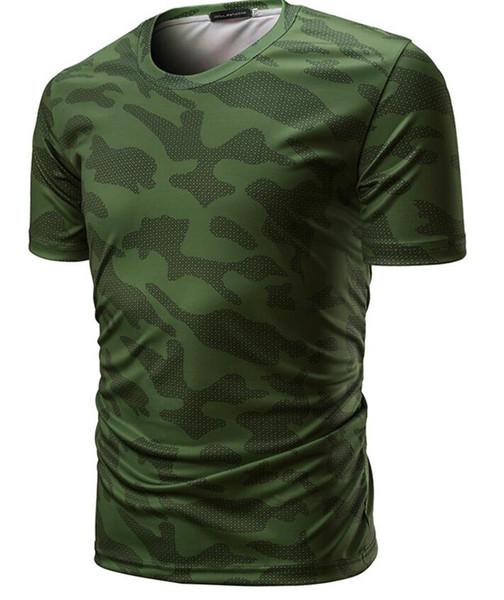 Европа и Соединенные Штаты взрыва модели 2018 года новые мужские внешняя торговля шею футболка большого размера армейский зеленый камуфляж с короткими рукавами