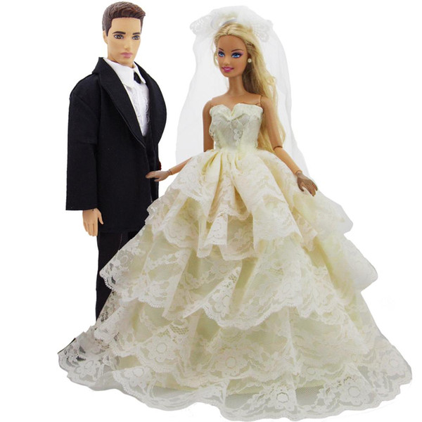 2 Set Handmade Outfits Black Suit + Wedding Dress Layered Ball Gown + Lace Veil Princess Accessories Clothes for Barbie Ken Doll