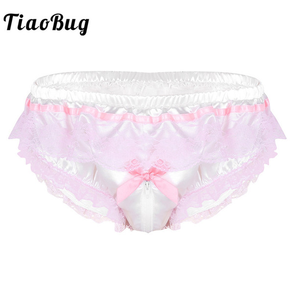 TiaoBug Men Shiny Satin Hot Sissy Höschen Dessous Pink Ruffle Blumenspitze Open Zipper Gabelung High Cut Slips Sexy Homosexuell Unterwäsche