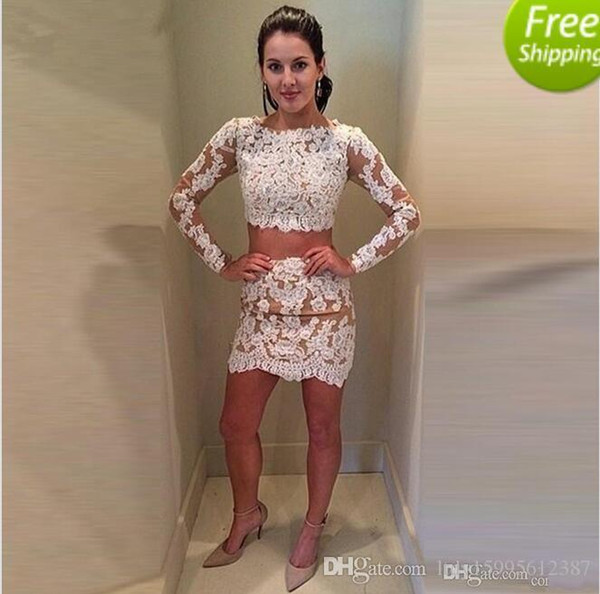 2019 New Colorful Custom Made Full Sleeve Mini Short Sheath Lace Cocktail Dresses Appliques Special Occasion Real Picture Robe de Soiree 340
