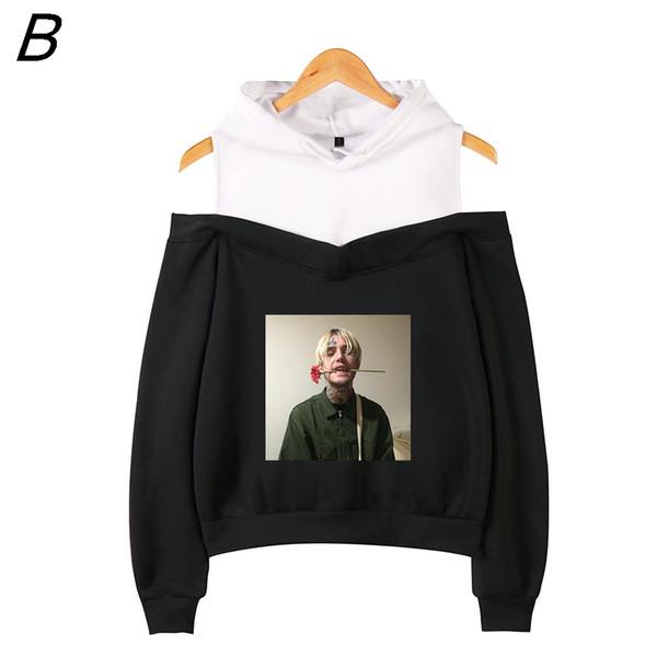 Lil Peep Off-the-shoulder Hoody Vrouwen hot Emo Rapper Cry Baby Gedrukt Sweatshirt Maten Voor Casual Fashion Sweatshirt Pullover
